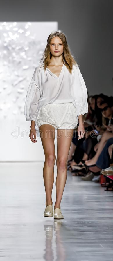 Noon by Noor SS 2018. New York, NY, USA - September 7, 2017: A model walks runway for the Noon by Noor Spring/Summer 2018 runway show during New York Fashion royalty free stock photography