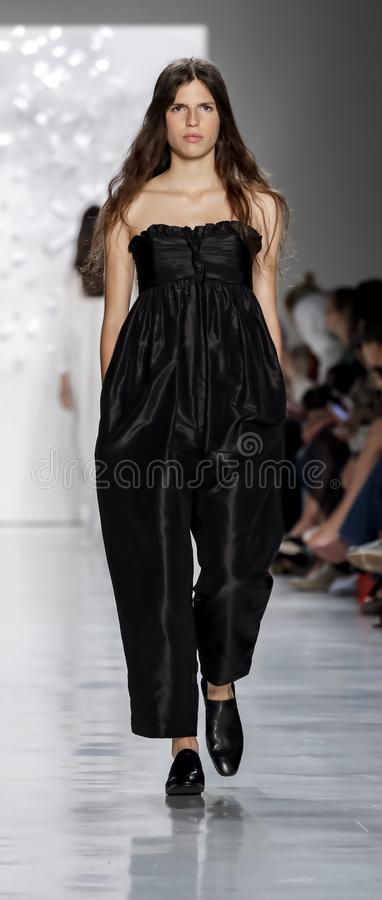 Noon by Noor SS 2018. New York, NY, USA - September 7, 2017: A model walks runway for the Noon by Noor Spring/Summer 2018 runway show during New York Fashion royalty free stock photos