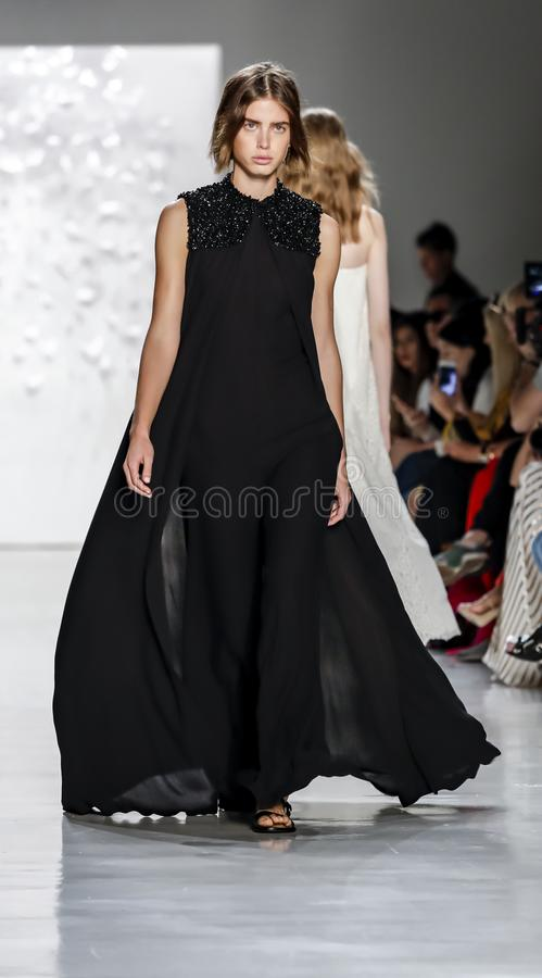 Noon by Noor SS 2018. New York, NY, USA - September 7, 2017: A model walks runway for the Noon by Noor Spring/Summer 2018 runway show during New York Fashion stock photo
