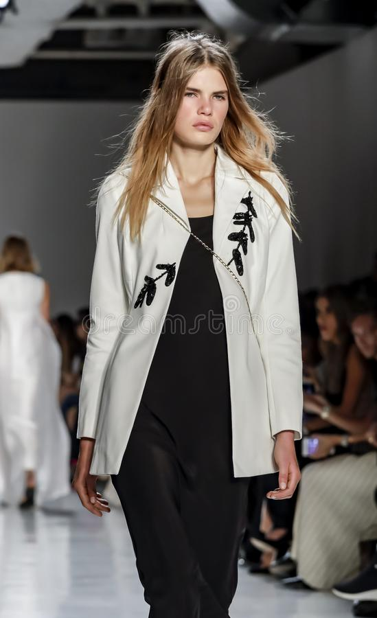 Noon by Noor SS 2018. New York, NY, USA - September 7, 2017: A model walks runway for the Noon by Noor Spring/Summer 2018 runway show during New York Fashion stock image