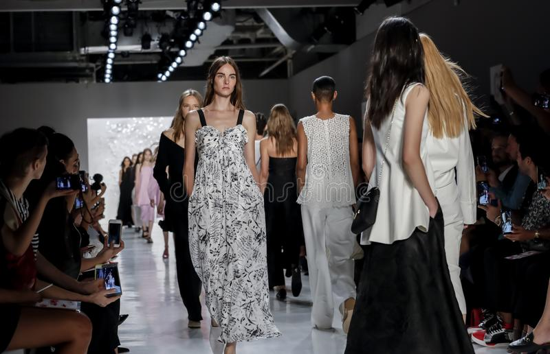 Noon by Noor SS 2018. New York, NY, USA - September 7, 2017: Models walk runway for the Noon by Noor Spring/Summer 2018 runway show during New York Fashion Week stock image