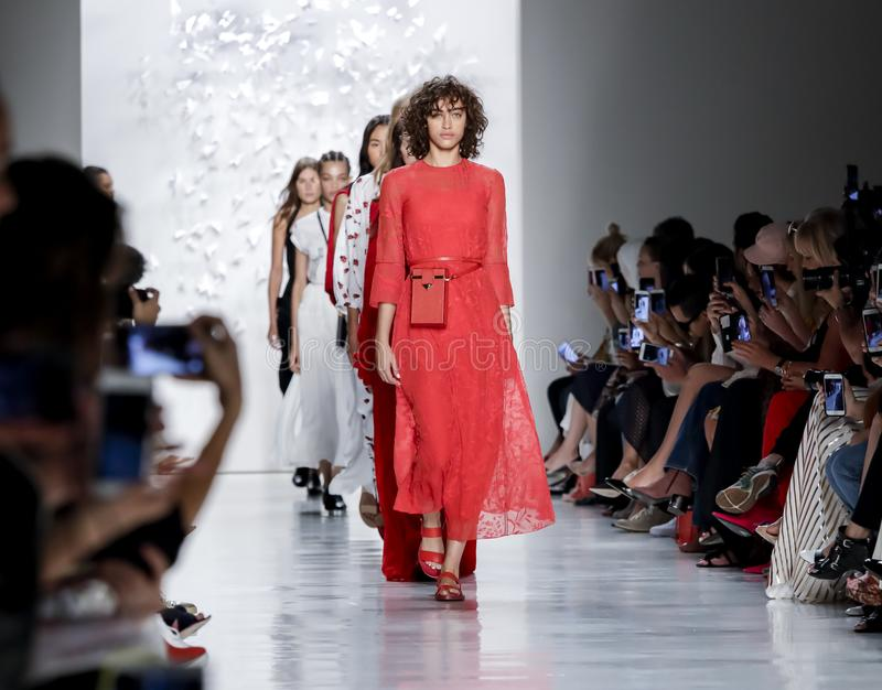 Noon by Noor SS 2018. New York, NY, USA - September 7, 2017: Models walk runway for the Noon by Noor Spring/Summer 2018 runway show during New York Fashion Week stock photo