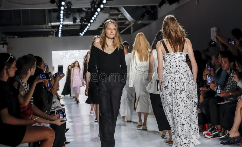 Noon by Noor SS 2018. New York, NY, USA - September 7, 2017: Models walk runway for the Noon by Noor Spring/Summer 2018 runway show during New York Fashion Week royalty free stock images