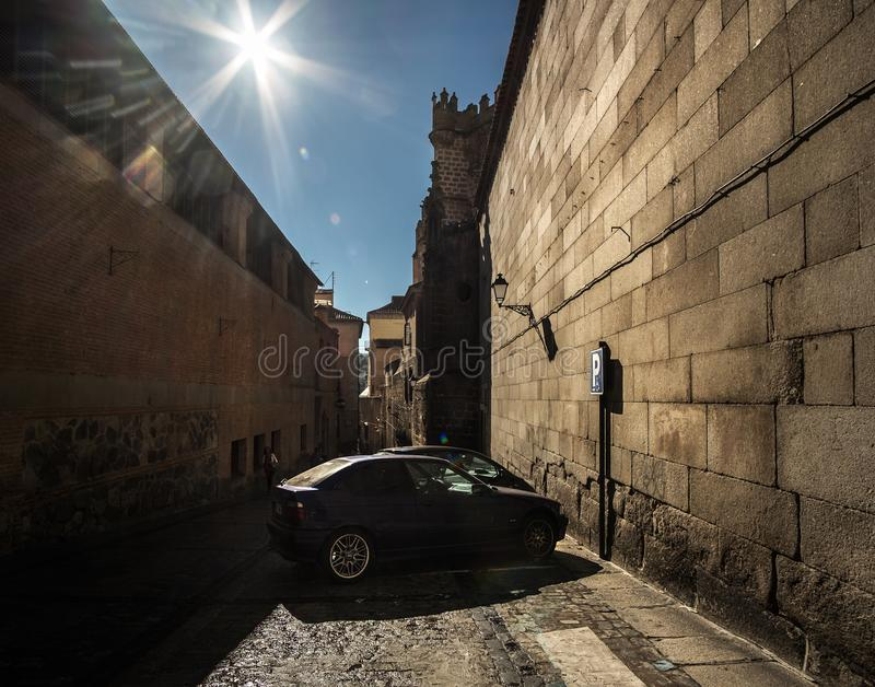 Noon in Toledo. Spain. Old streets of the old city of Toledo. Spanish classics royalty free stock photography