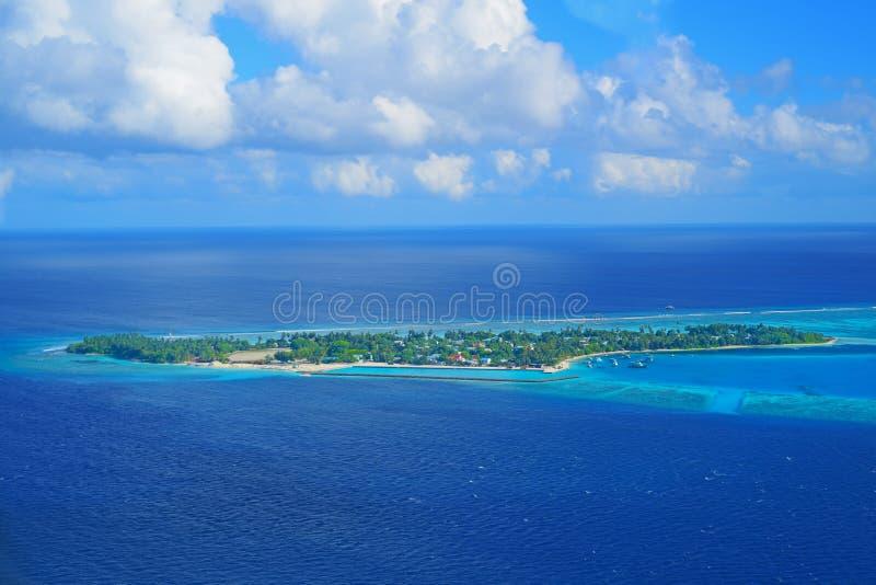 Noonu环礁Manadhoo海岛 免版税图库摄影