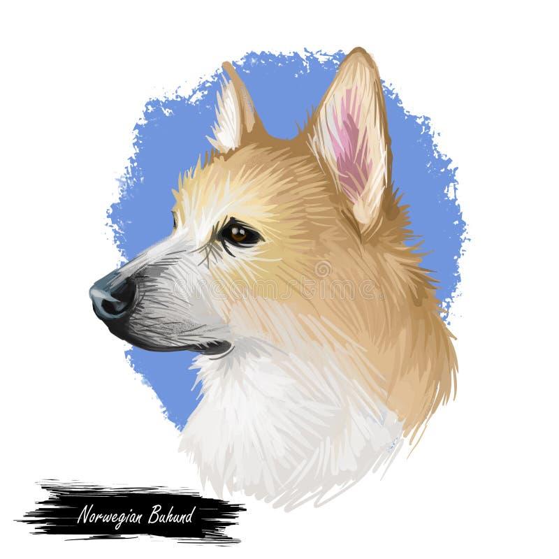 Noor, buhund hoektand uit Scandinavië, digitaal art. is voortgekomen dat Geïsoleerd puppy van de affiche van Noorwegen met tekst  royalty-vrije illustratie