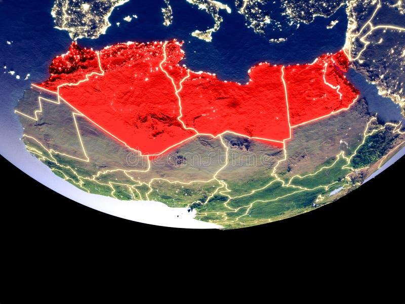 Noord-Afrika bij nacht van ruimte royalty-vrije illustratie
