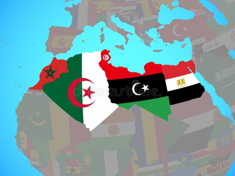 Noord-Afrika met vlaggen op kaart stock illustratie