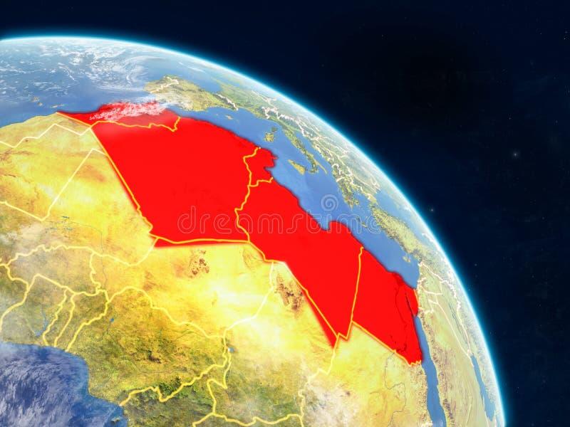 Noord-Afrika van ruimte royalty-vrije illustratie
