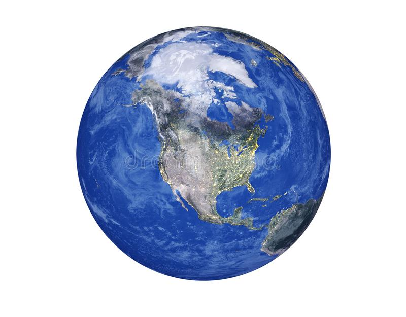 Noord-Amerika op de Aardebol op witte achtergrond wordt geïsoleerd die Elementen van dit die beeld door NASA wordt geleverd vector illustratie