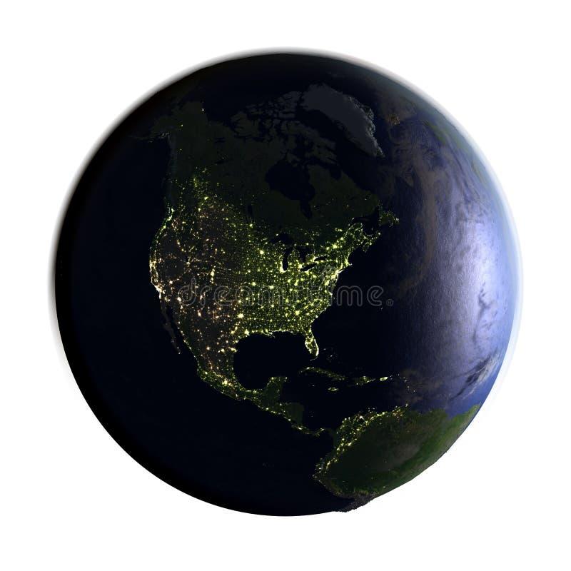 Noord-Amerika ter wereld bij nacht op wit wordt geïsoleerd dat stock illustratie