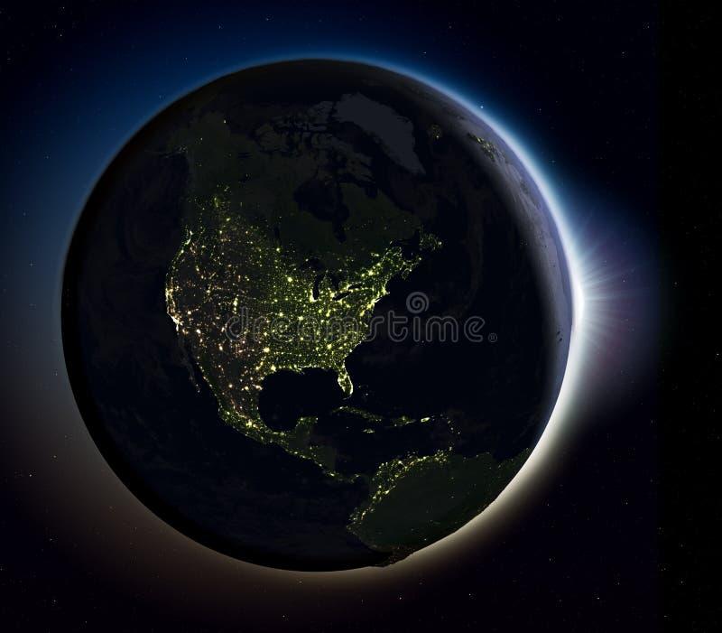 Noord-Amerika van ruimte bij nacht stock illustratie