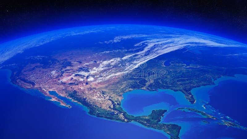 Noord-Amerika van ruimte wordt gezien die vector illustratie