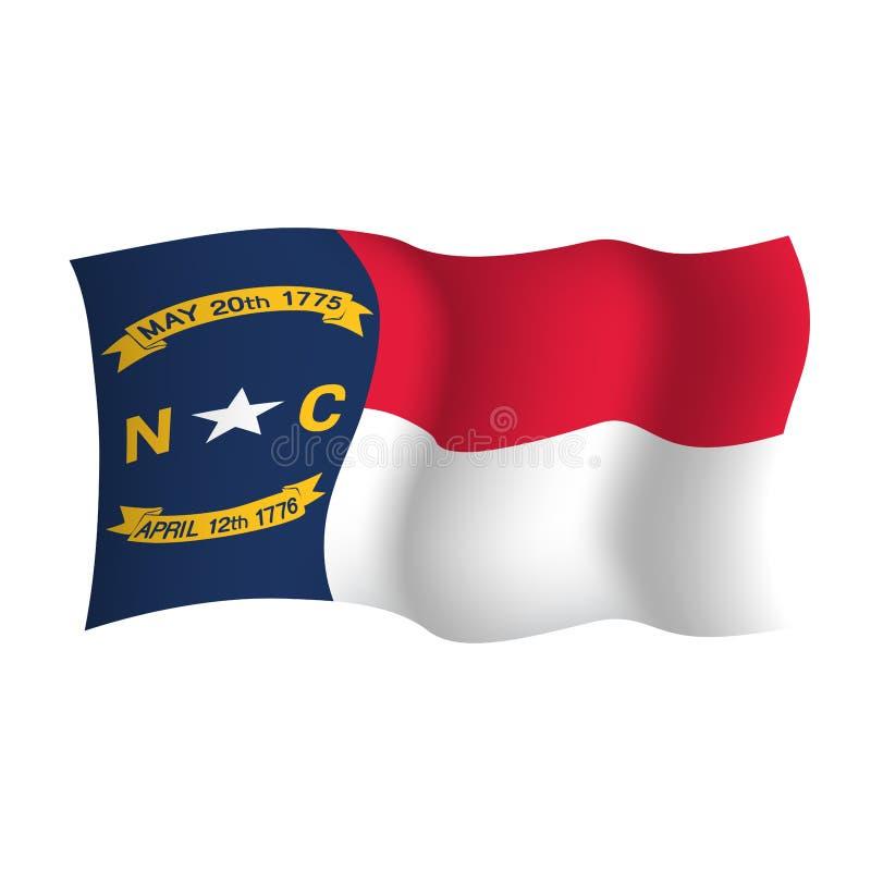 Noord-Carolina die vectorvlag golven Vector illustratie De Verenigde Staten van Amerika raleigh stock illustratie