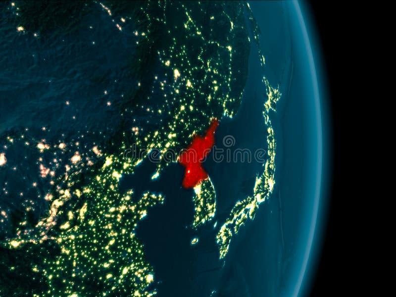 Noord-Korea bij nacht stock illustratie