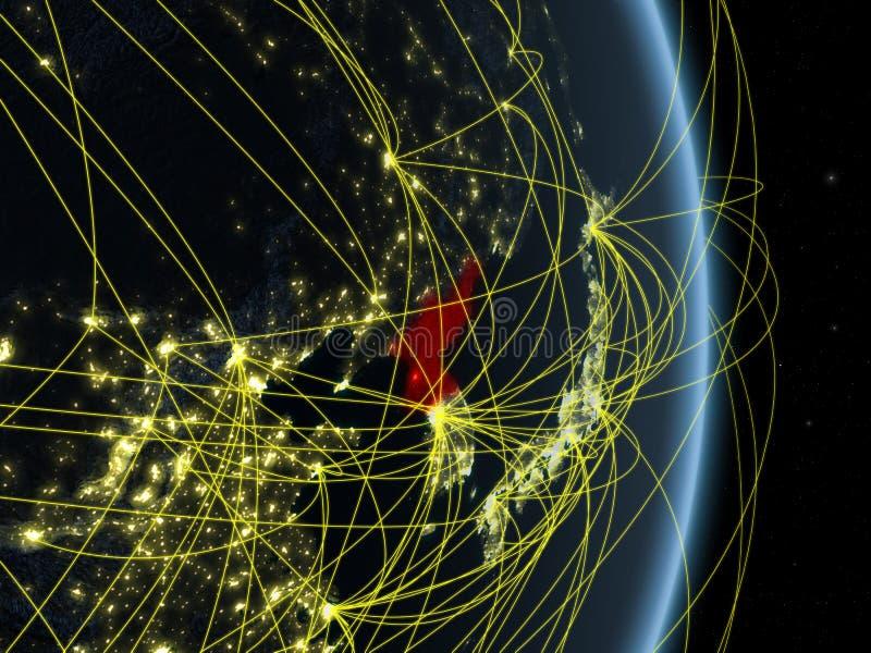 Noord-Korea bij nacht op planeetaarde met netwerk Concept connectiviteit, reis en mededeling 3D Illustratie stock illustratie