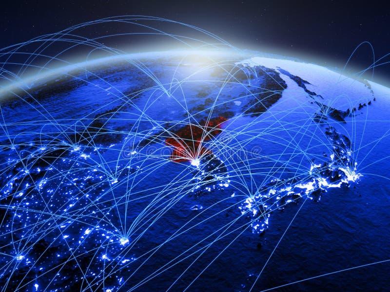 Noord-Korea op blauwe digitale aarde met internationaal netwerk die mededeling, reis en verbindingen vertegenwoordigen 3d royalty-vrije stock fotografie