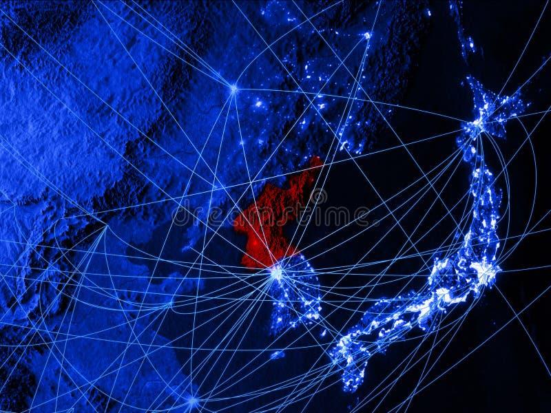 Noord-Korea op blauwe digitale kaart met netwerken Concept internationale reis, mededeling en technologie 3D Illustratie royalty-vrije illustratie