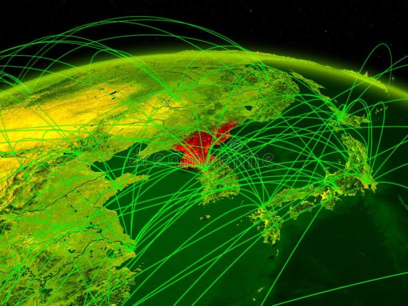 Noord-Korea op digitale aarde met internationaal netwerk die mededeling, reis en verbindingen vertegenwoordigen 3D Illustratie vector illustratie