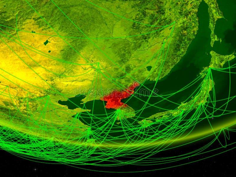 Noord-Korea op groen model van aarde met netwerk die digitaal tijdperk, reis en mededeling vertegenwoordigen 3D Illustratie royalty-vrije illustratie