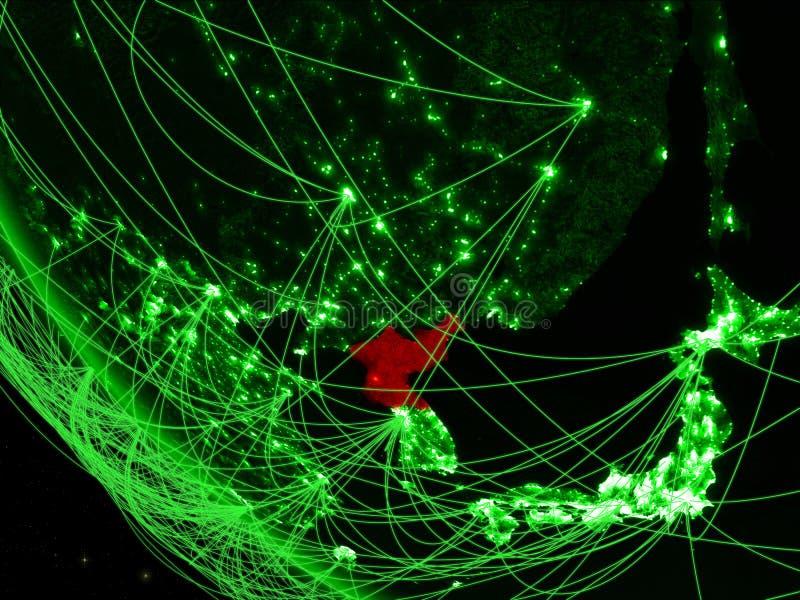Noord-Korea op groene aarde van ruimte met netwerk Concept internationale mededeling, technologie en reis 3d royalty-vrije illustratie