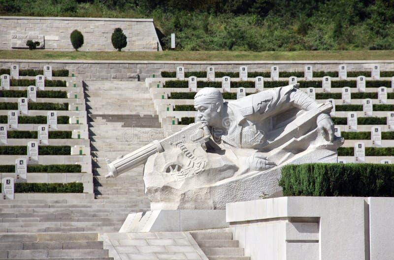 NOORD-KOREA, PYONGYANG - SEPTEMBER 27, 2017: Militaire begraafplaats stock afbeelding
