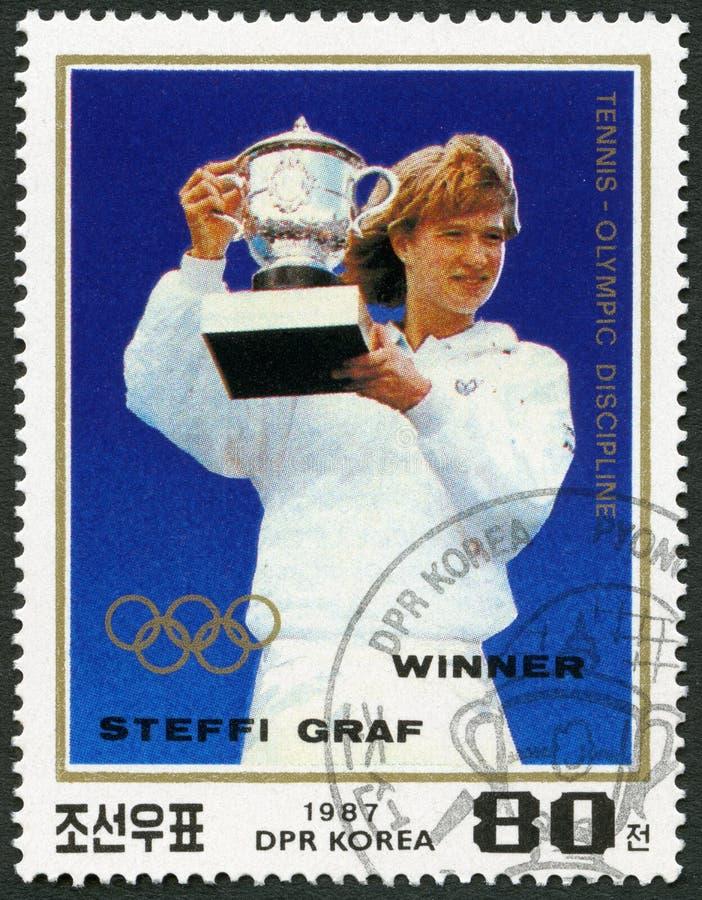 NOORD-KOREA - 1987: toont Stefanie Maria Steffi Graf geboren 1969, Roland Garros Birth Centenary en Tennis als Olympische Sport stock foto's