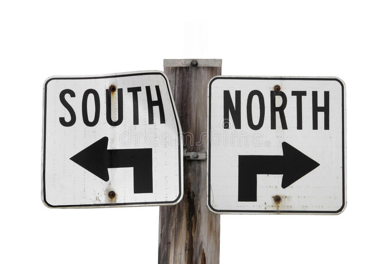 Noord-zuid geïsoleerde$ verkeersteken royalty-vrije stock fotografie