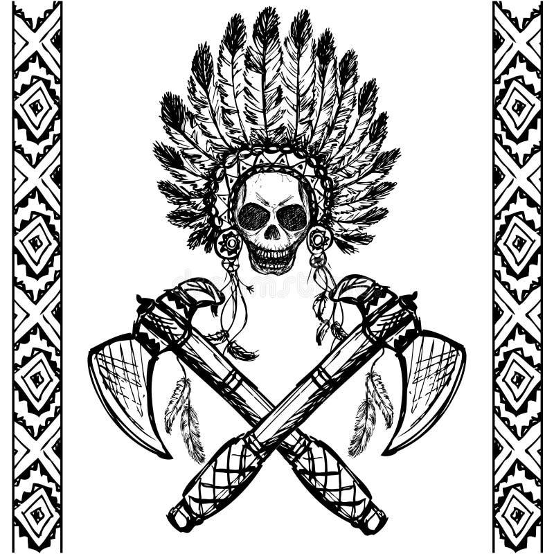 Noordamerikaanse Indische leider met tomahawk, hand getrokken vector stock illustratie