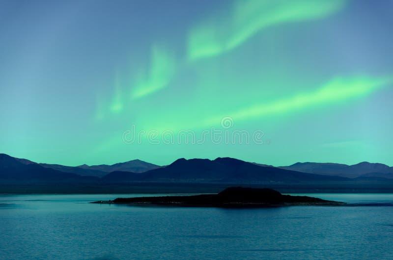 Noordelijk Lichtenaurora borealis over bomen stock afbeelding
