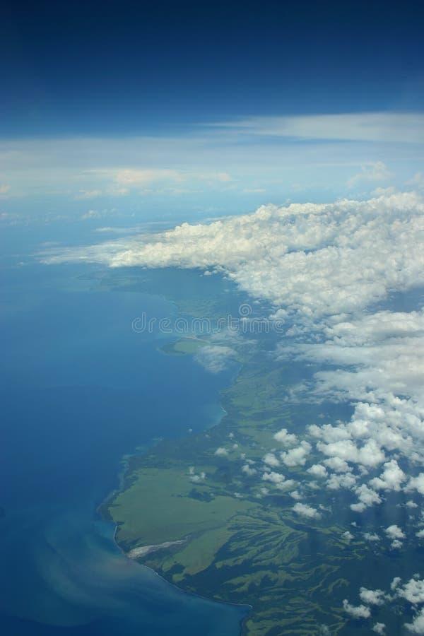 Noordelijke actuele costline van Papoea-Nieuw-Guinea stock afbeeldingen