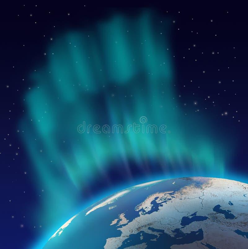 Noordelijke borealis van de lichtendageraad over planeet royalty-vrije illustratie