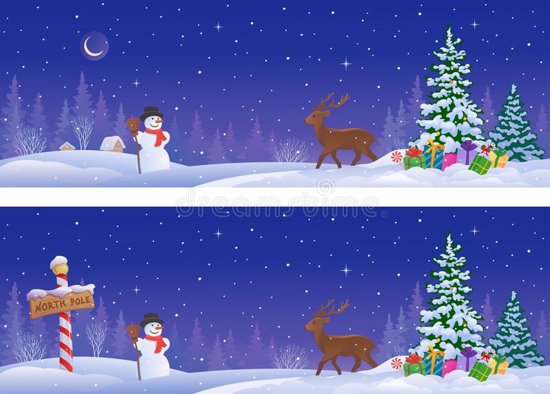 Noordelijke de winterbanners vector illustratie
