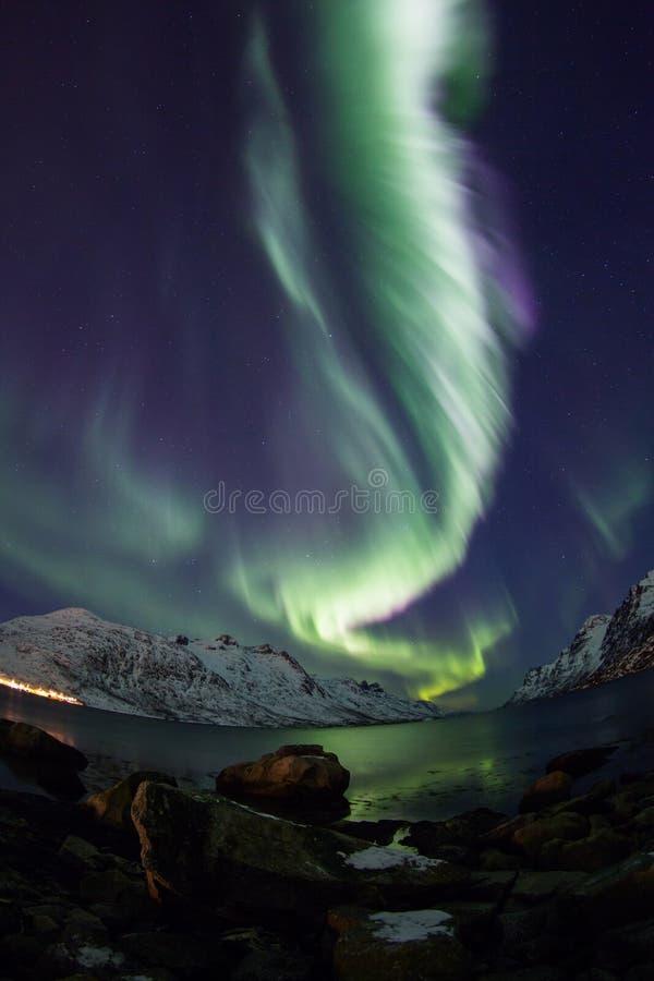 Noordelijke lichten (Aurora borealis) over Tromso royalty-vrije stock foto's