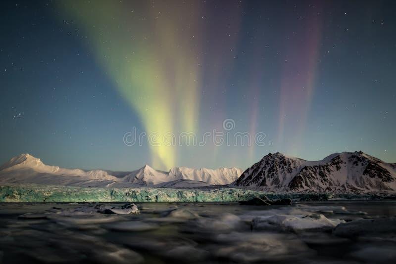 Noordelijke Lichten boven de Noordpoolgletsjer en de bergen - Svalbard, Spitsbergen stock afbeelding