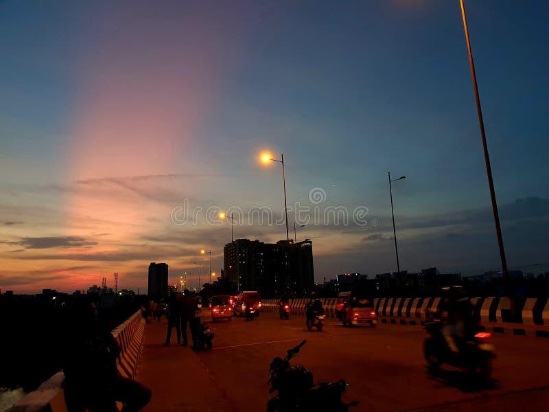 Noordelijke lichten in Chennai, India stock afbeelding