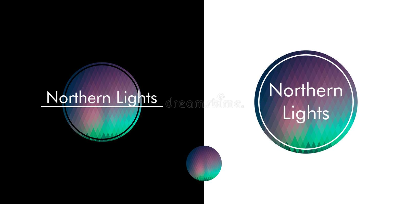 noordelijke lichten, embleem in de cirkel royalty-vrije illustratie