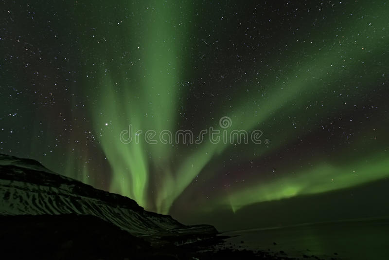 Noordelijke Lichten, IJsland stock afbeeldingen