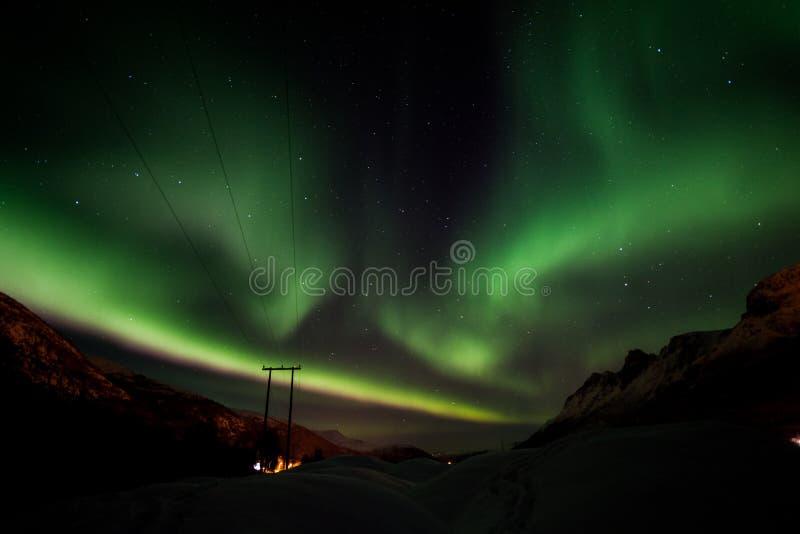 Noordelijke lichten Lyngen aps royalty-vrije stock afbeeldingen