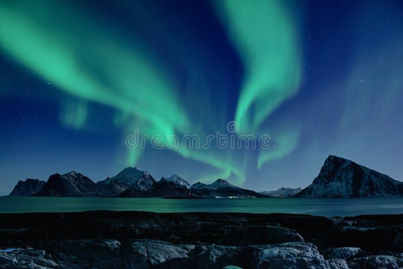 Noordelijke Lichten in Noorwegen stock afbeelding