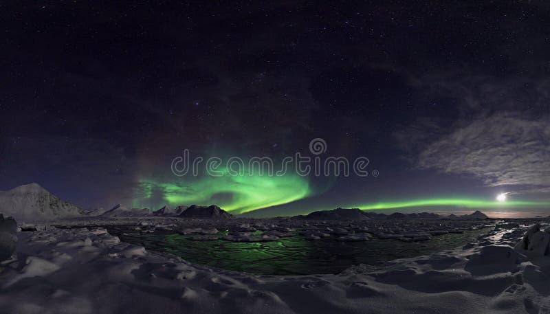 Noordelijke lichten over de bevroren fjord - PANORAMA royalty-vrije stock foto
