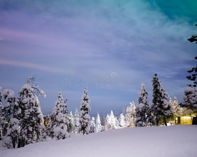 Noordelijke lichten in Rovaniemi - Lapland royalty-vrije stock foto's