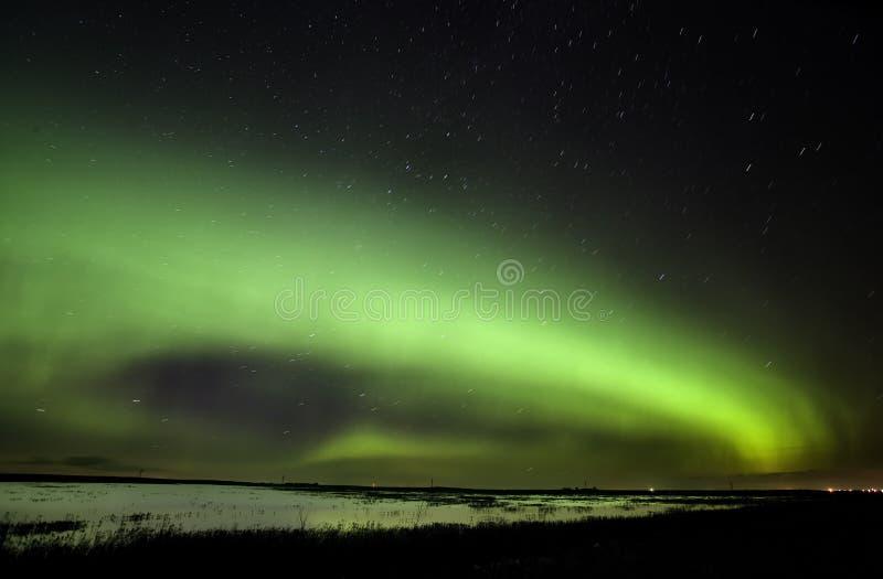 Noordelijke Lichten Saskatchewan Canada stock afbeeldingen
