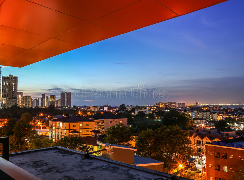 Noordelijke Pattaya-nachtmening stock foto