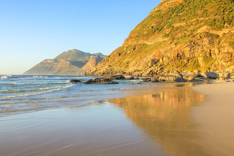 Noordhoek Beach South Africa. Beautiful Noordhoek Beach, 8 km of sandy beach from Chapmans Peak Drive to Kommetjie, in Table Mountain National Park, South Africa stock image