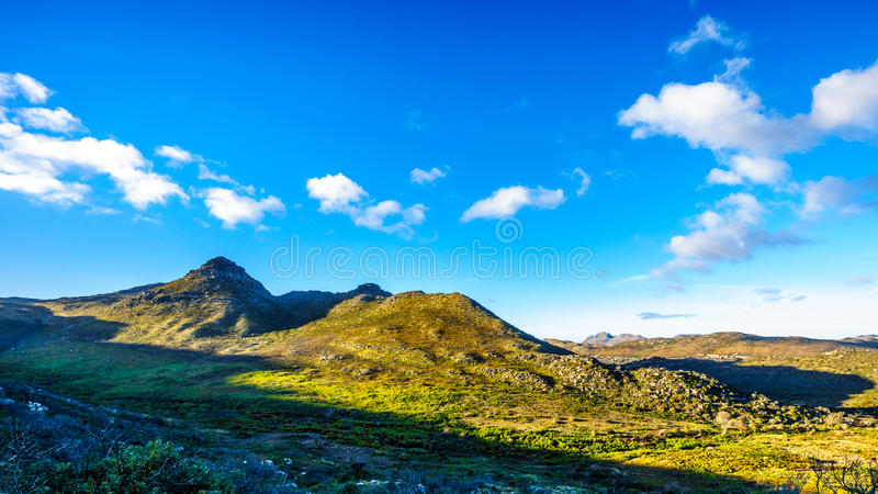 The Noordhoek and Kommetjie region in the Cape Town area. Viewed from the Ou Kaapse Weg, Old Cape Road, on a clear winter morning royalty free stock image