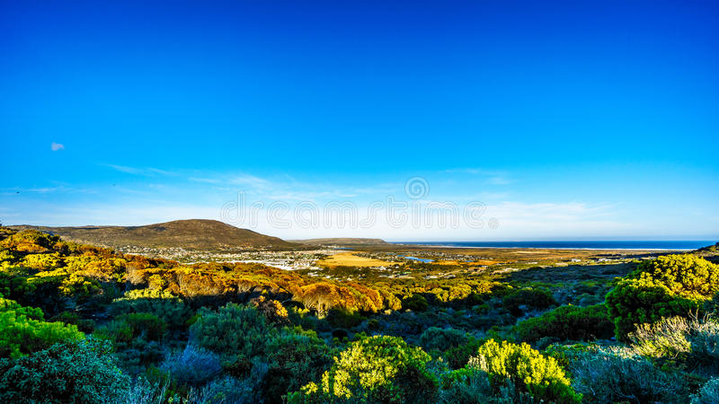 The Noordhoek and Kommetjie region in the Cape Town area. Viewed from the Ou Kaapse Weg, Old Cape Road, on a clear winter morning royalty free stock photo