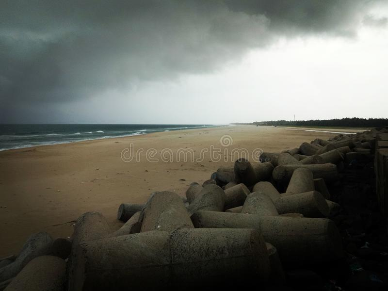 Noordoostelijke moesson pondicherry India royalty-vrije stock fotografie