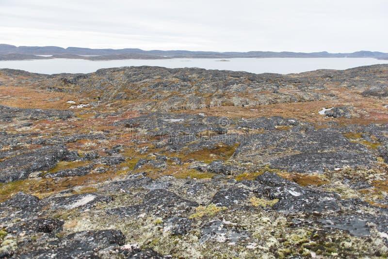 Noordpoollandschap rond Aasiaat stock afbeeldingen
