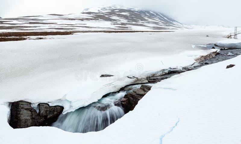Noordpoolrivier die in een gat in sneeuw vallen stock foto